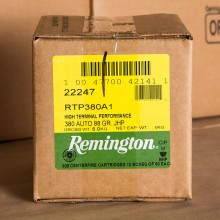 380 AUTO REMINGTON HTP 88 GRAIN JACKETED HOLLOW POINT (500 ROUNDS)