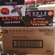 "12 GAUGE FEDERAL ULTRA CLAY & FIELD 2-3/4"" #8 SHOT (25 ROUNDS)"