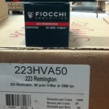 .223 REMINGTON FIOCCHI V-MAX 50 GRAIN JHP (1000 ROUNDS)