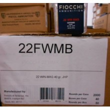 22WMR FIOCCHI 40 GRAIN JACKETED HOLLOW POINT (500 ROUNDS)