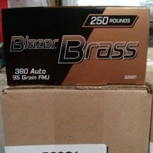 .380 ACP BLAZER BRASS VALUE PACK 95 GRAIN FMJ (250 ROUNDS)
