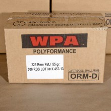 223 REMINGTON WOLF WPA 55 GRAIN FMJ (500 ROUNDS)