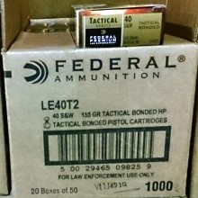 .40 S&W FEDERAL TACTICAL BONDED 155 GRAIN JHP (50 ROUNDS)