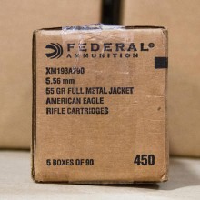 5.56x45MM - FEDERAL 55 GRAIN FMJ-BT XM193 (450 ROUNDS)