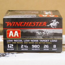 "12 GAUGE WINCHESTER AA LOW RECOIL 2-3/4"" #8 SHOT (25 ROUNDS)"