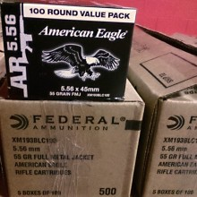 5.56 NATO FEDERAL AMERICAN EAGLE LAKE CITY M193 BALL 55 GRAIN FMJ (500 ROUNDS)