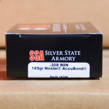 .308 WINCHESTER SILVER STATE ARMORY NOSLER ACCUBOND 165 GRAIN JHP (20 ROUNDS)