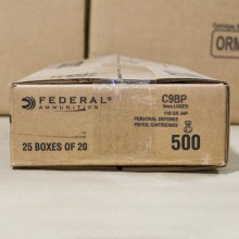 9MM LUGER FEDERAL PERSONAL DEFENSE 115 GRAIN JHP (500 ROUNDS)