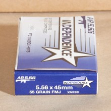 5.56x45mm NATO 55 GRAIN M193 FMJ BT (INDEPENDENCE) (20 ROUNDS)