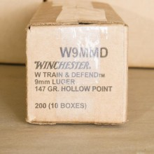 9MM LUGER WINCHESTER TRAIN & DEFEND 147 GRAIN JHP (200 ROUNDS)