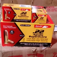 22 LR AGUILA SUPER EXTRA 40 GRAIN COPPER PLATED ROUND NOSE (500 ROUNDS)