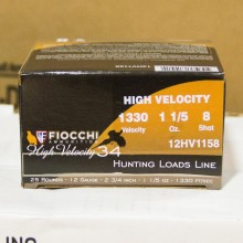 "12 GAUGE FIOCCHI HIGH VELOCITY HUNTING 2-3/4"" GRAIN #8 SHOT (25 ROUNDS)"