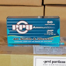 .40 S&W PRVI PARTISAN 180 GRAIN JACKETED HOLLOW POINT (500 ROUNDS)