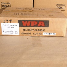 7.62X39 WOLF MILITARY CLASSIC 124 GRAIN FMJ (1000 ROUNDS)
