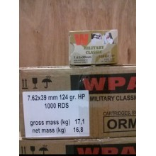 7.62x39MM WOLF WPA MILITARY CLASSIC 124 GRAIN HOLLOW POINT (1000 ROUNDS)