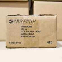 5.56 NATO FEDERAL LAKE CITY 55 GRAIN FMJ-BT (600 ROUNDS)