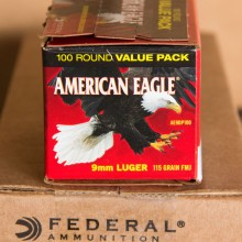 9MM LUGER FEDERAL AMERICAN EAGLE 115 GRAIN FMJ (100 ROUNDS)