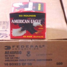 40 S&W FEDERAL AMERICAN EAGLE 180 GRAIN FMJ (500 ROUNDS)