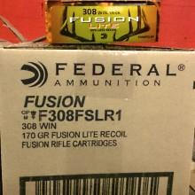 .308 WINCHESTER FEDERAL FUSION LOW RECOIL 170 GRAIN SP (20 ROUNDS)