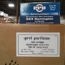 .223 REMINGTON PRVI PARTIZAN 55 GRAIN FMJ (1000 ROUNDS)