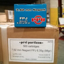 7.62MM NAGANT PRVI PARTIZAN 98 GRAIN FPJ (50 ROUNDS)