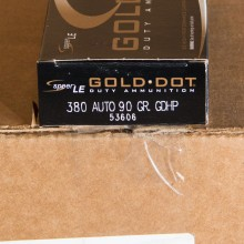 .380 ACP SPEER GOLD DOT 90 GRAIN JHP (1000 ROUNDS)
