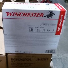 "12 GAUGE WINCHESTER USA HEAVY GAME & TARGET 2-3/4"" 1-1/8 OZ. #8 SHOT (100 ROUNDS)"